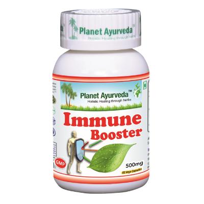 Reforço das defesas naturais com Immune Booster, cápsulas vegetarianas Planet Ayurveda